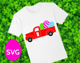 Easter Truck SVG file, a printable Easter Truck clipart carrying Easter Eggs and an Easter Bunny silhouette on the truck door