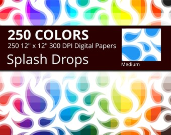 Water Drops Digital Paper Pack, 250 Colors Splashing Water Digital Paper Drops Paisley Pattern, Medium Seamless Curved Drops Background
