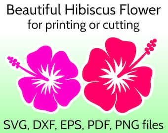 Hibiscus SVG Flower Cut File for Cricut & Silhouette, Tropical Flower Clipart, Hawaian flowers, Hawaii SVG Flower, Hibiscus Design