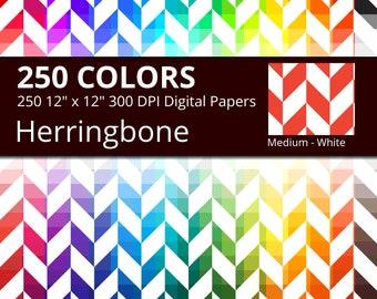 White Herringbone Digital Paper Pack, 250 Colors Digital Paper Herringbone Pattern, Digital Herringbone Printable Scrapbooking Paper