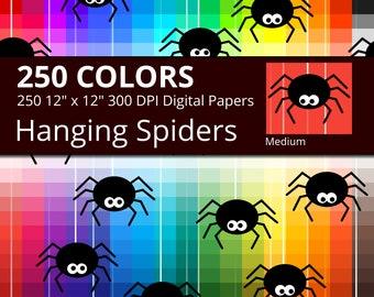 Halloween Hanging Spiders Digital Paper Pack, 250 Colors Halloween Digital Paper Spider Pattern, Medium Spiders Digital Background