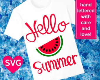 Hello Summer with Watermelon SVG file for Cricut and Silhouette and printable clipart to make a cool summer shirt!