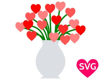 Bouquet of Heart Flowers SVG file to print or cut with Cricut & Silhouette