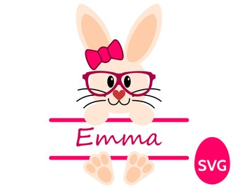 Hipster Easter Bunny Monogram Frame for Girls SVG file for Cricut and Silhouette, a very hip Easter Bunny Girl SVG split monogram frame