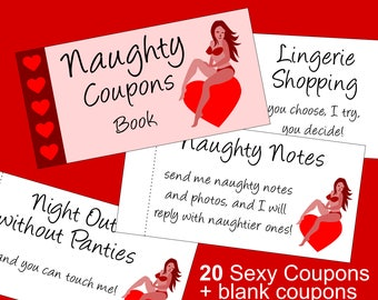 Valentine's Day Gift for Him: Sexy Printable Naughty Coupons Book with Sex Coupons that are guaranteed to please your husband or boyfriend!
