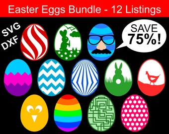 Easter Eggs SVG Bundle, 12 Easter Eggs SVG files for Cricut & Silhouette, Easter SVG Bundle, Easter Egg Svg, Easter Egg Clipart, Eggs Svgs