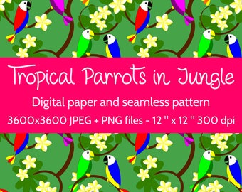 Tropical Parrots in Jungle Digital Paper and seamless pattern to create a jungle background and for scrapbooking projects