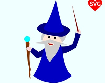 Cute Wizard SVG, Sorcerer SVG File for Cricut and Silhouette, Magician SVG, Magic svg files, Wizard clipart, Halloween Svg files, Wizard dxf