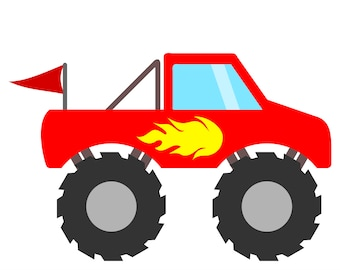 Red Monster Truck SVG File with Flames and Flag to make Monster Truck birthday party invites, shirts and gifts