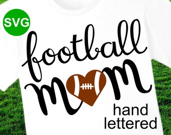 Football Mom SVG File and printable clipart with heart shaped football to make Football Mom shirts and gifts