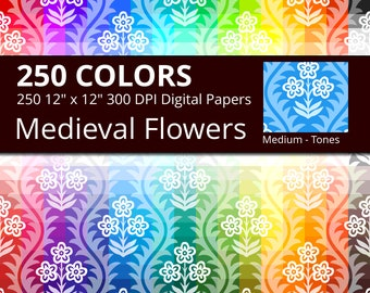 Medieval Flowers Digital Paper Pack, 250 Colors Old Vintage Digital Paper Flower in Rainbow Colors, 3 Tones Victorian Floral Pattern
