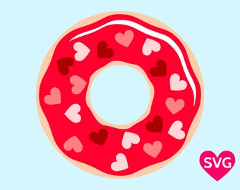 A lovely Donut sprinkled with Candy Hearts for Valentine's Day, printable clipart and SVG cut file