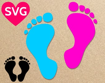 Baby Footprint SVG, Baby Feet SVG, Baby Foot SVG, Baby Foot Print svg file for Cricut & Silhouette, Baby Shower svg design dxf, pdf, png