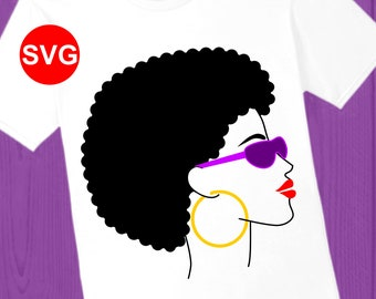 Afro Woman SVG file with shades, hoop earring , bright lipstick, and funky afro hair printable clipart and SVG for Cricut and Silhouette