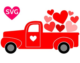 Valentine's Day SVG Love Truck carrying a truck load of hearts and love!