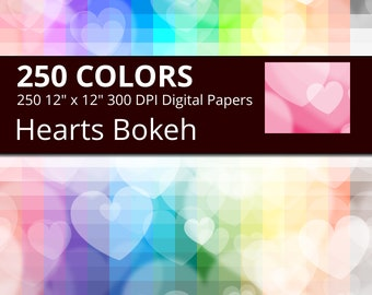 Hearts Bokeh Digital Paper Pack, 250 Colors Bokeh Heart Digital Paper Bokeh Hearts Background, Digital Hearts Backdrop, Seamless Love