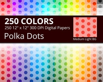 Polka Dots Digital Paper Pack, 250 Colors Polka Dots Scrapbooking Paper with Medium Dots on Tinted Background Pattern