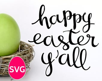 Happy Easter Y'All SVG file, an exclusive handwritten calligraphy Happy Easter Yall SVG to make Happy Easter yard signs and homemade cards
