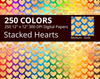 250 Golden Stacked Hearts Digital Paper Pack with 250 Colors, Rainbow Colors Stacked Gold Heart Pattern Digital Scrapbooking Paper