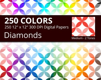 250 Japanese Diamonds Geometric Digital Paper Pack with 250 Colors, Rainbow Colors Shippou Pattern Scrapbooking Digital Papers