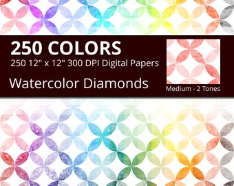 Watercolor Diamonds Digital Paper Pack, 250 Geometric Digital Paper Diamonds in Rainbow Colors, Geometric Background Watercolor Texture