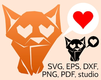 Adorable SVG Origami Cat with Loving Eyes, Cute Kitten SVG Cut File for Cricut & Silhouette