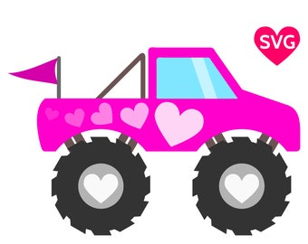 Pink Monster Truck SVG file with hearts to make shirts, invitations and gifts for girls who love Monster Trucks
