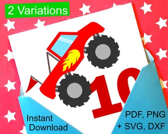 Monster Truck 10th Birthday SVG and Printable Clipart to make a 10th Birthday Shirt, Gift, Card, Invite or Invitations for boys