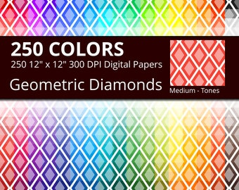 Geometric Diamonds Digital Paper Pack, 250 Colors Geometric Digital Paper Diamond Pattern in Rainbow Colors, 2 Tones Diamond Background