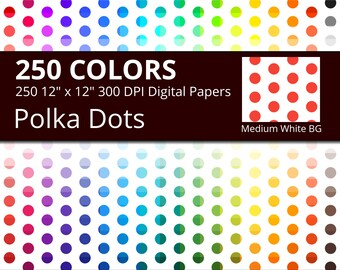 Polka Dots on White Background Digital Paper Pack, 250 Colors Polka Dots Scrapbooking Paper with Medium Dots on White Background Pattern