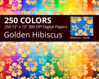 250 Golden Japanese Gems Digital Paper Pack with 250 Colors, Rainbow Colors Hanabishi and Shippo Patterns Digital Scrapbooking Paper