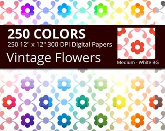 Victorian Flowers Digital Paper Pack, 250 Colors Floral Digital Paper Vintage Flower Pattern, Medium Flowers on White Background