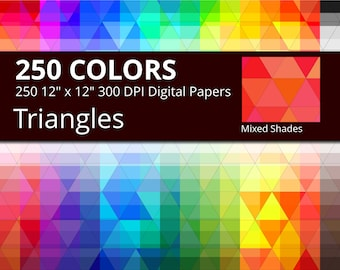 Triangles Digital Paper Pack, 250 Colors Mixed Shades Geometric Digital Paper Triangle Background, Mixed Shades Triangular Pattern