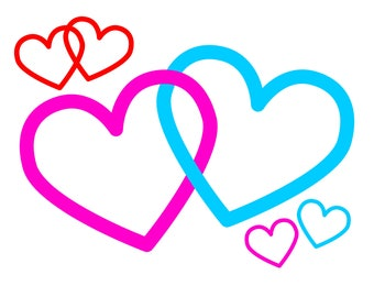 Interlocking Hearts SVG file, with 2 Joined Hearts to symbolize Love, to print or cut for Valentine's Day craft projects