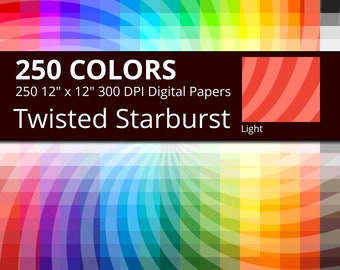 250 Tinted Twisted Starburst, Sunburst Swirl Digital Paper Pack with 250 Colors, Rainbow Twisted Star burst Pattern Scrapbooking Paper