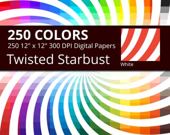 250 Twisted Starburst, Swirl Sunburst Digital Paper Pack with 250 Colors, Rainbow Colors White Twisted Starburst Pattern Scrapbooking Paper