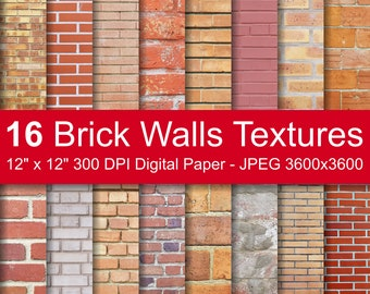 16 Brick Walls Textures Digital Paper Pack with New, Old and Vintage Bricks in Brown, Orange, Red and White Walls