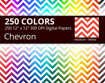250 White Chevron Digital Paper Pack with 250 Colors, Rainbow Colors Medium White Chevrons Pattern Scrapbooking Paper Download