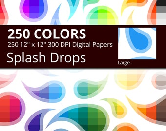 Splash Drops Digital Paper Pack, 250 Colors Splash Digital Paper Water Drop Paisley Pattern, Large Seamless Curved Tear Drops Background