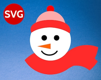 Snowman Face SVG cut file for Cricut & Silhouette, Christmas SVG Snowman Face with wool hat and scarf