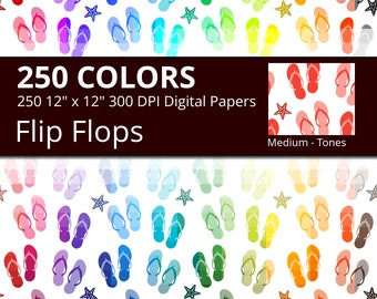 Flip Flops Digital Paper Pack, 250 Colors Beach Digital Paper Flip Flop Pattern, Summer Digital Papers with Flip Flops and Starfish