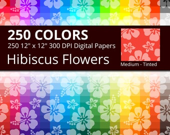250 Tropical Hibiscus Flowers Digital Paper Pack with 250 Colors, Rainbow Colors Medium Tinted Hibiscus Floral Pattern Scrapbooking Paper