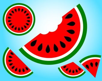 5 Watermelon SVG designs for Cricut and Silhouette, for Watermelon birthday parties, invites, cards and shirts