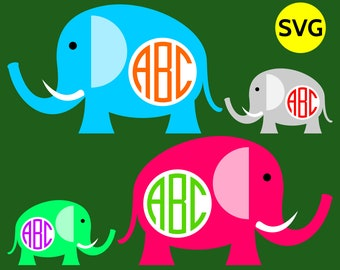 Round Elephant Monogram Frame SVG file for Cricut & Silhouette, make the whole elephants family!