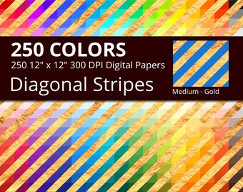 250 Golden Diagonal Stripes Digital Paper Pack with 250 Colors, Rainbow Colors Gold Diagonal Stripes Pattern Digital Scrapbooking Paper