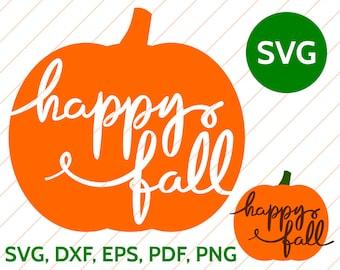 Happy Fall SVG Pumpkin Handwritten Calligraphy Cut File for Cricut & Silhouette, Halloween Fall Pumpkin SVG Design, Pumpkin Clipart