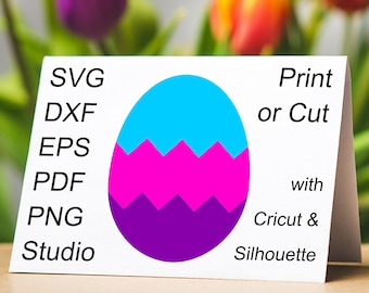 Banded Easter Egg SVG file and printable colored Easter Egg with chevron bands clipart to make Easter Egg Hunt cards and yard signs