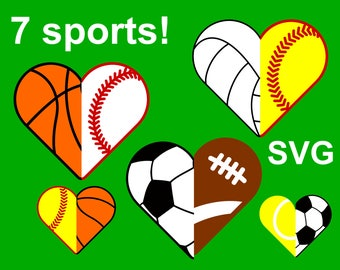 7 Sports Half Hearts SVG files for Cricut & Silhouette, 14 heart halves SVG cut files, Sport Half Heart SVG bundle, sports clipart pdf, dxf