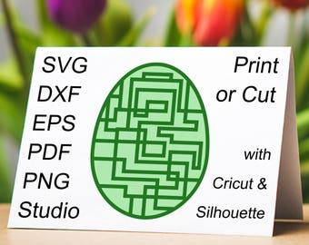 Robot Easter Egg SVG file with a Geometric Electronic Circuit Pattern