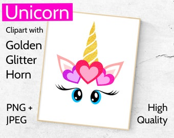 Golden Unicorn Clipart, Unicorn face clip art with golden horn, Unicorns clipart, Golden glitter Unicorn head PNG + JPEG, Gold Unicorn JPG